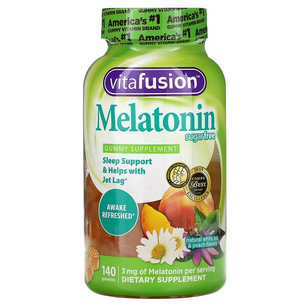 VitaFusion, Melatonin, Natural White Tea & Peach, Sugar Free, 140 Gummies