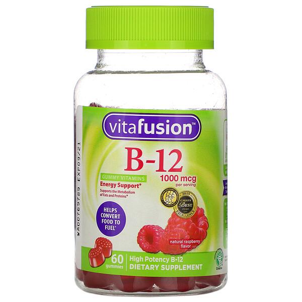 VitaFusion, قطع حلوى فيتامينات ب-12، لدعم للطاقة، نكهة التوت الطبيعية، 1000 مكجم، 60 قطعة حلوى