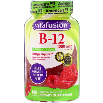Купить VitaFusion B12, натуральный вкус малины, 1000мкг, 140жевательных таблеток