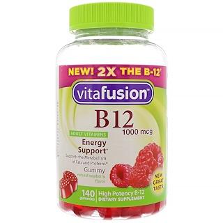 VitaFusion, B12 Adult Vitamins, Energy Support, Natural Raspberry Flavor, 1000 mcg, 140 Gummies