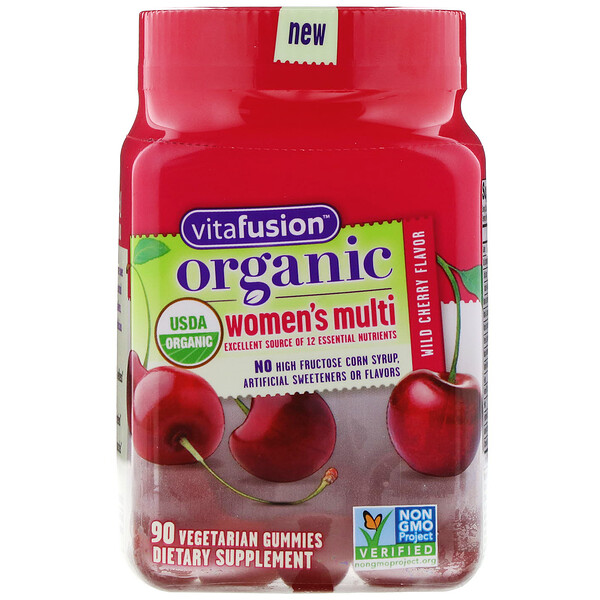 VitaFusion, Organic Women's Multi, Wild Cherry, 90 Vegetarian Gummies