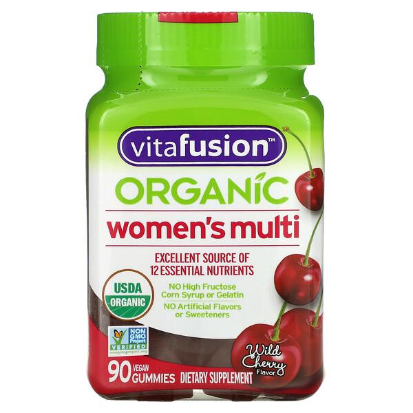 VitaFusion, فيتامينات متعددة عضوية للنساء، نكهة كرز بري، 90 علكة نباتية