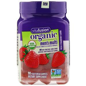 VitaFusion, Organic Mens' Multi, Fresh Strawberry, 90 Vegetarian Gummies