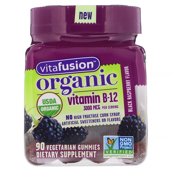 VitaFusion, Organic Vitamin B-12, Black Raspberry, 3,000 mcg, 90 Vegetarian Gummies (Discontinued Item)
