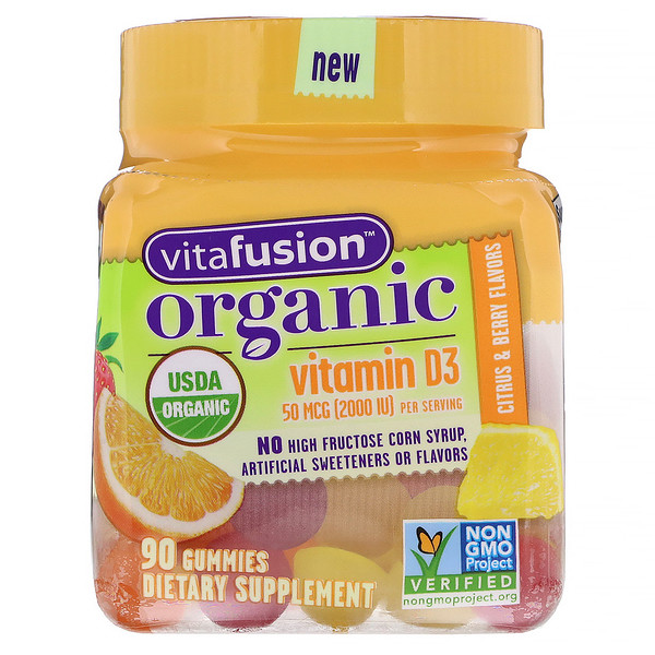 VitaFusion, Organic Vitamin D3, 50 mcg, Citrus & Berry, 90 Gummies