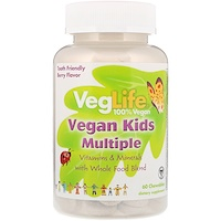 Мультивитамины для детей растительного происхождения, вкус ягод, 60 жевательных таблеток - фото