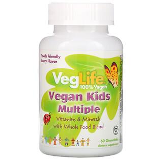 VegLife, Vegan Kids Multiple, Berry Flavor, 60 Chewables