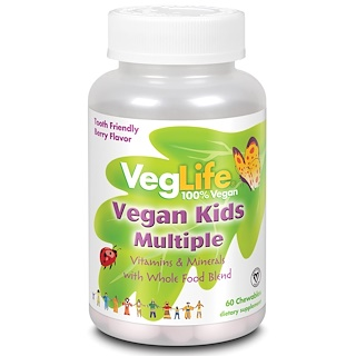 VegLife, Vegan Kids Multiple, Berry Flavor, 60 Chewables