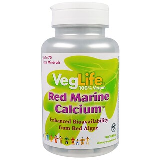 VegLife, Red Marine Calcium, 90 Tablets