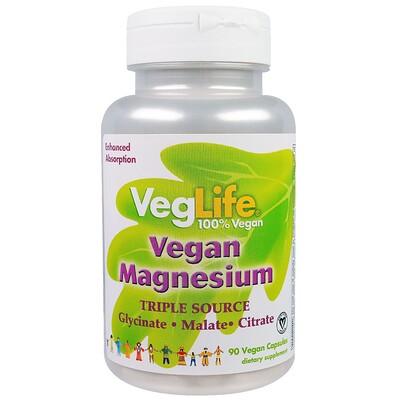 Купить VegLife Магний растительного происхождения, три источника, 90 вегетарианских капсул