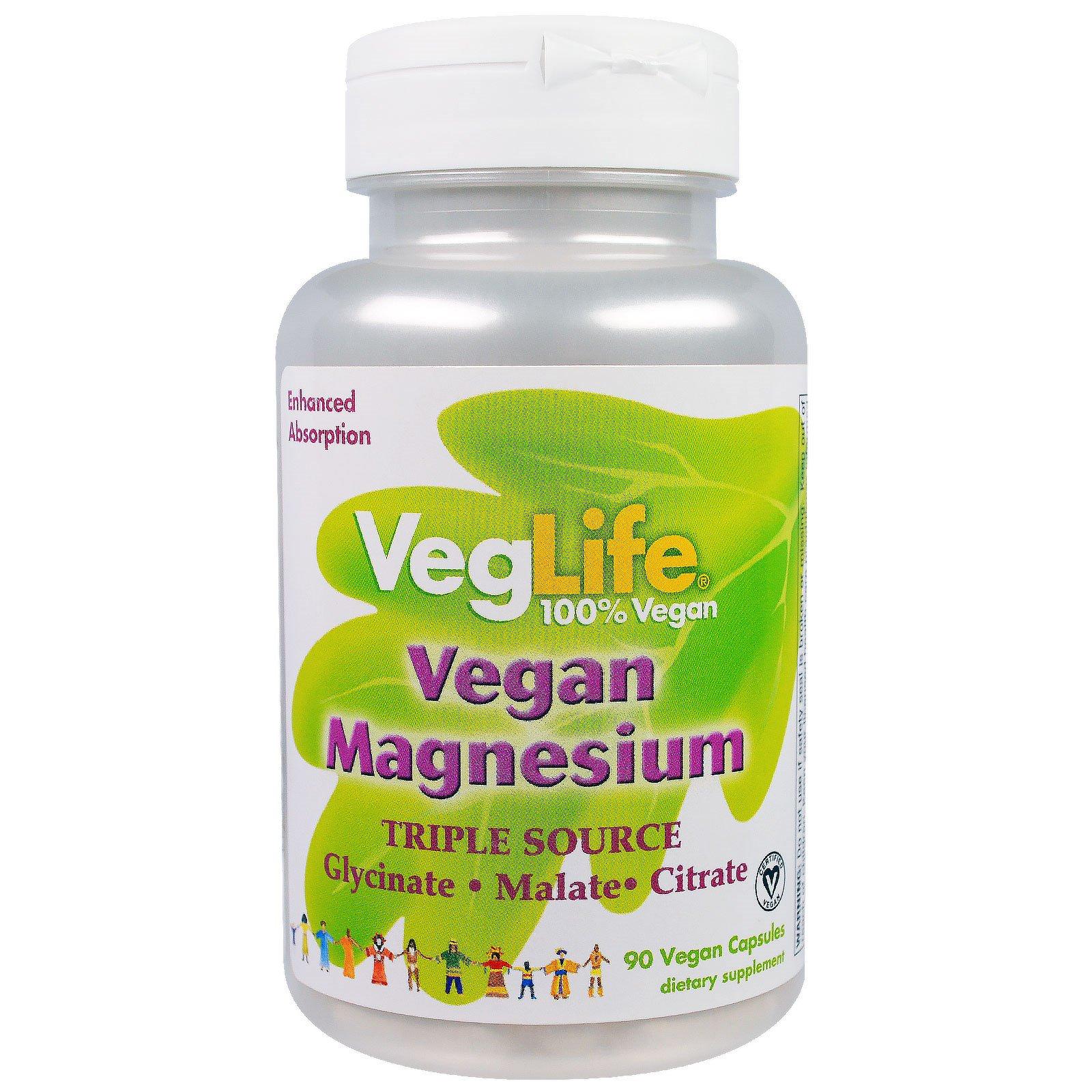 VegLife, Магний растительного происхождения, три источника, 90 вегетарианских капсул