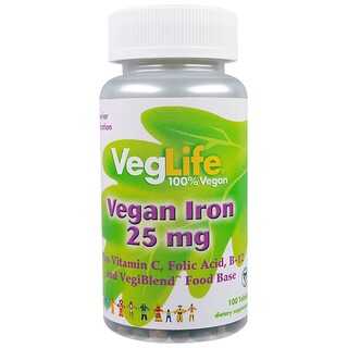 VegLife, Vegan Iron, 25 mg, 100 Tablets