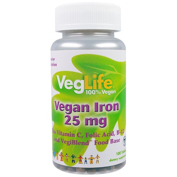 Vegan Iron, 25 mg, 100 Tablets