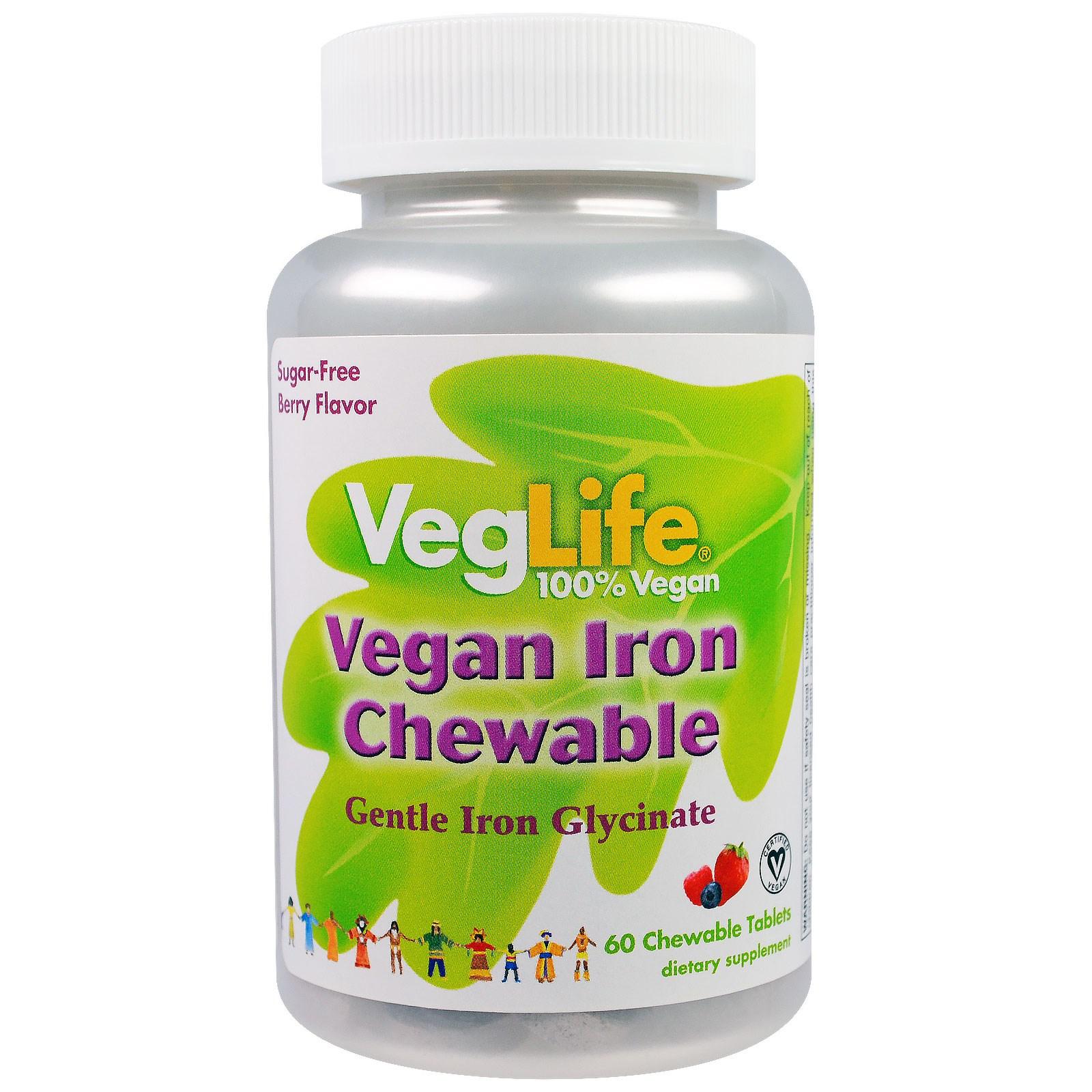 VegLife, Железо растительного происхождения,  вкус ягод, 60 жевательных таблеток