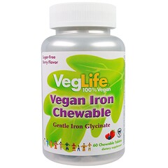 VegLife, Vegan Iron Chewable, Berry Flavor, 60 Chewable Tablets
