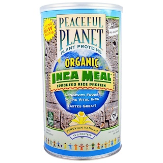 VegLife, 유기농, 잉카 식사, 싹튼 쌀 단백질, 페루 바닐라, 12.6oz(358g)