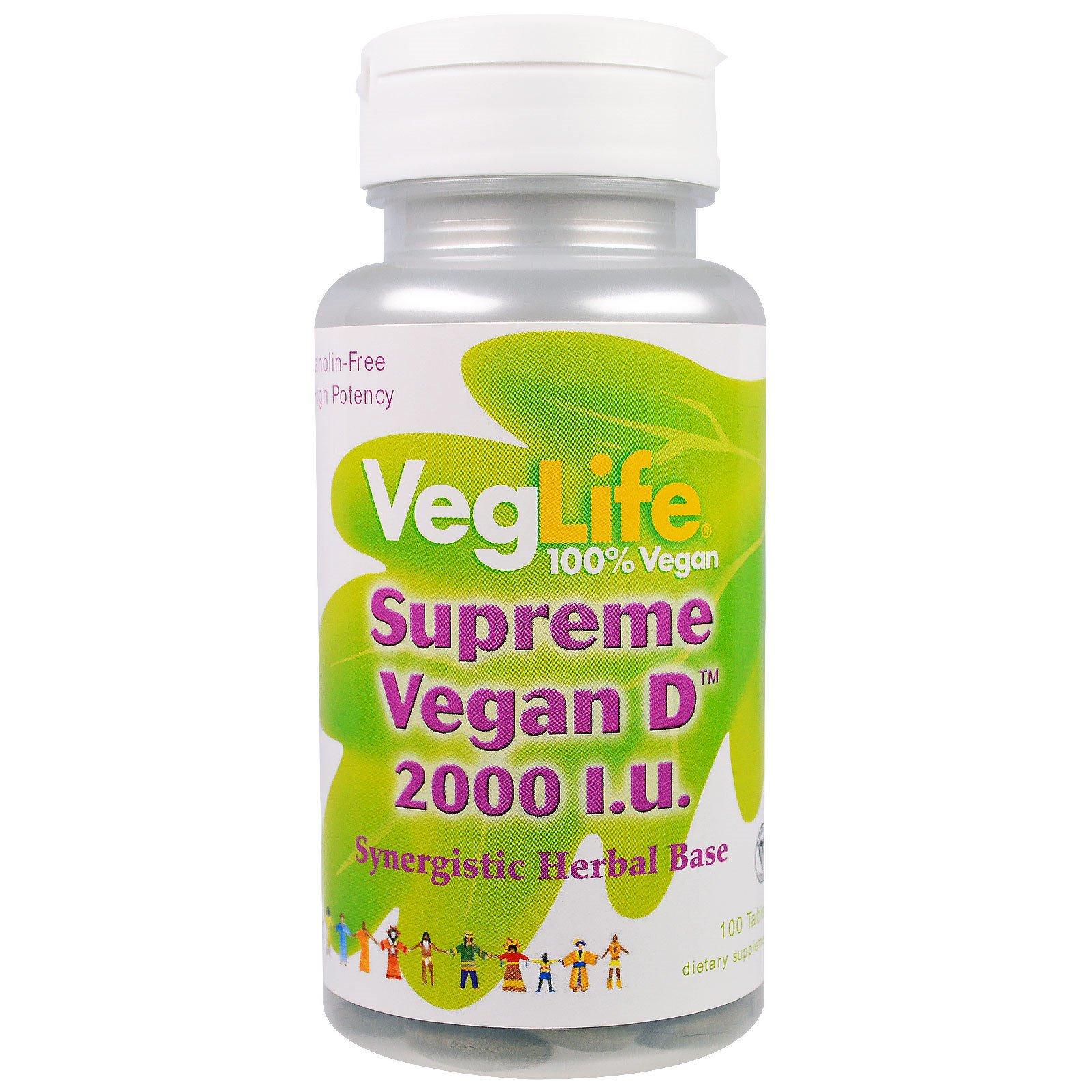 VegLife, Максимум витамина D растительного происхождения, 2000 МЕ, 100 таблеток