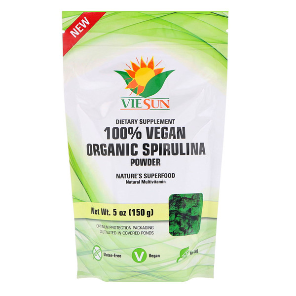100% Vegan Organic Spirulina Powder, 5 oz (150 g)