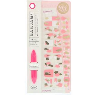 Vika Nailjam, Gel Nail Strips For Nails & Toenails, Pink Icing, 38 Strips