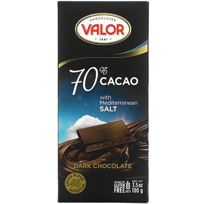 Купить Valor Dark Chocolate, 70% Cacao with Mediterranean Salt, 3.5 oz (100 g)