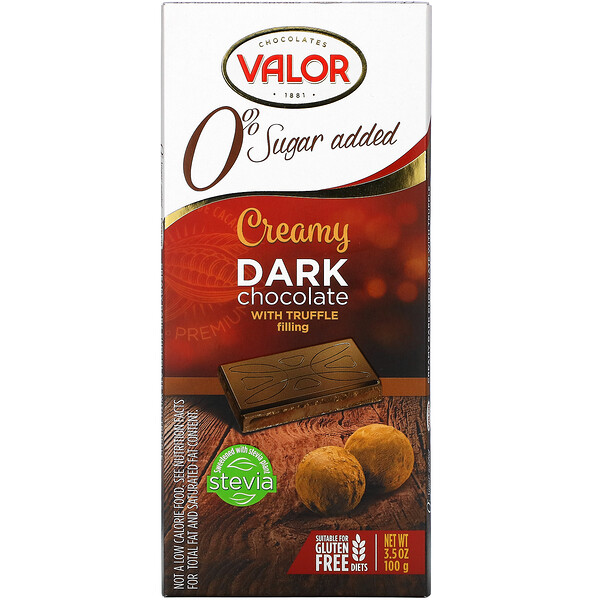 Creamy Dark Chocolate With Creamy Truffle Filling, 0% Sugar Added, 3.5 oz (100 g)