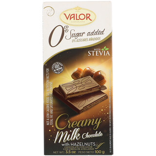 Valor, 0% Sugar Added, Creamy Milk Chocolate With Hazelnut, 3.5 oz (100 g)