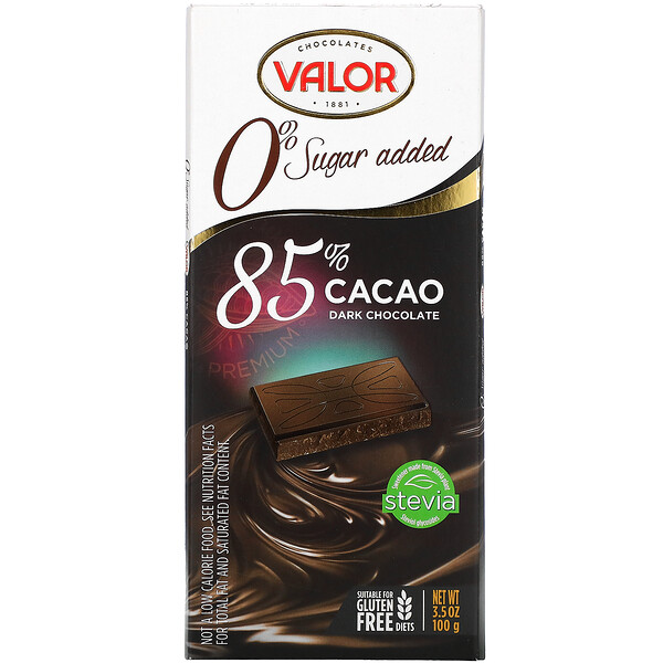 Dark Chocolate, 0% Sugar Added, 85% Cacao, 3.5 oz (100 g)