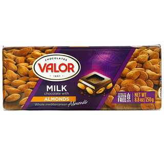 Valor, Milk Chocolate with Almonds, 8.8 oz (250 g)