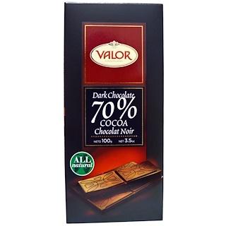 Valor, Темный шоколад, 70% какао, 3.5 унции (100 г)