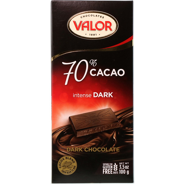 Valor, Intense Dark Chocolate, 70% Cacao, 3.5 oz (100 g) (Discontinued Item)
