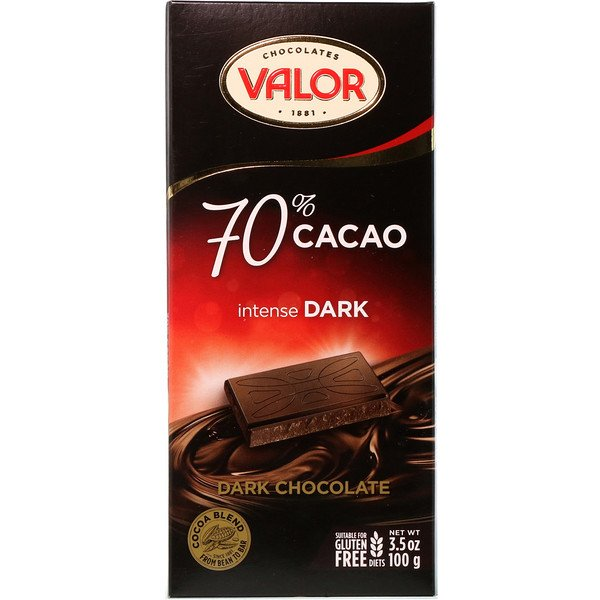 Valor, Intense Dark Chocolate, 70% Cacao, 3.5 oz (100 g)
