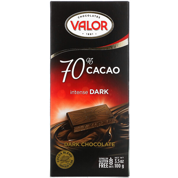 Intense Dark Chocolate, 70% Cacao, 3.5 oz (100 g)
