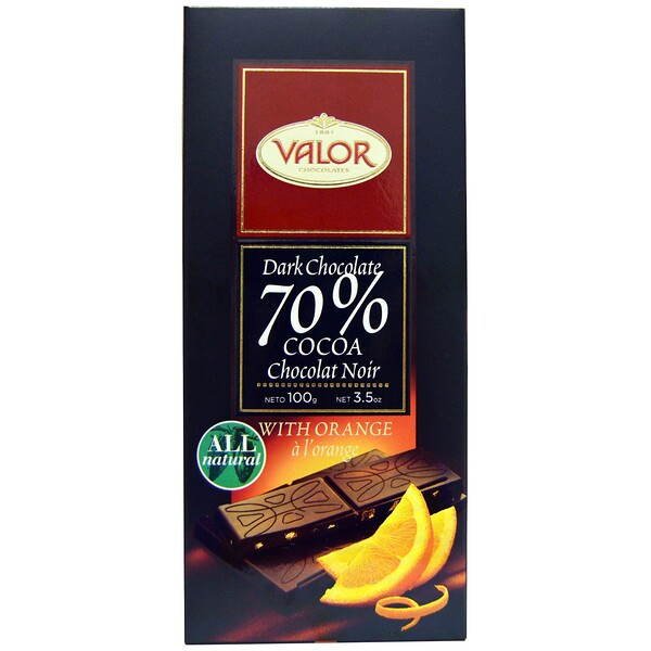 Valor, Dark Chcocolate, 70% Cocoa, With Orange, 3.5 oz (100 g) (Discontinued Item)