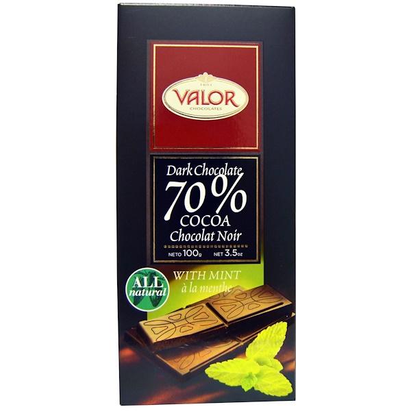 Valor, 黑巧克力,70%可可,含薄荷,3、5盎司(100克)