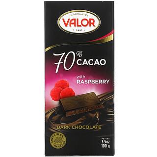 Valor, Dark Chocolate, 70% Cacao with Raspberry, 3.5 oz (100 g)