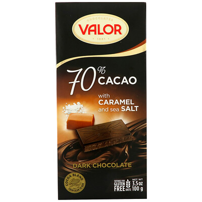 Купить Valor Dark Chocolate, 70% Cacao, With Caramel and Sea Salt, 3.5 oz (100 g)