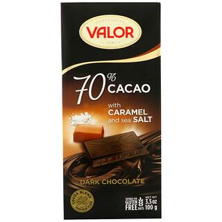 Valor, Dark Chocolate, 70% Cacao, With Caramel and Sea Salt, 3.5 oz (100 g)