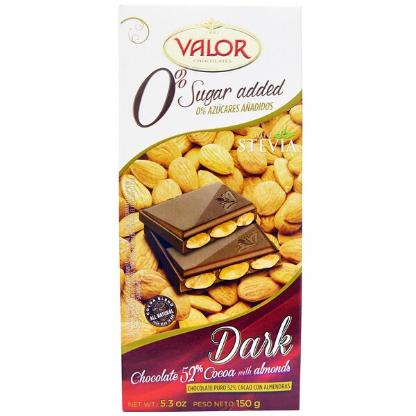 0% Sugar Added, Dark Chocolate, 52% Cocoa with Almonds, 5.3 oz (150 g)