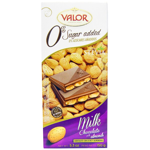 Valor, 0% Sugar Added, Milk Chocolate with Almonds, 5.3 oz (150 g) (Discontinued Item)