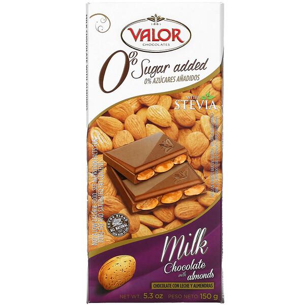 Valor, 0% سكر مضاف، شوكولاتة بالحليب مع لوز، 5.3 أونصة (150 جم)