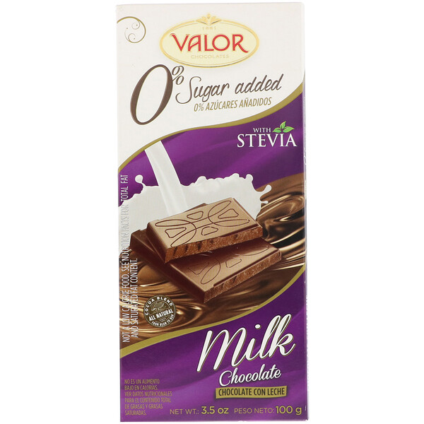 Valor, Milk Chocolate Bar with Stevia, 0% Sugar Added, 3.5 oz (100 g) (Discontinued Item)