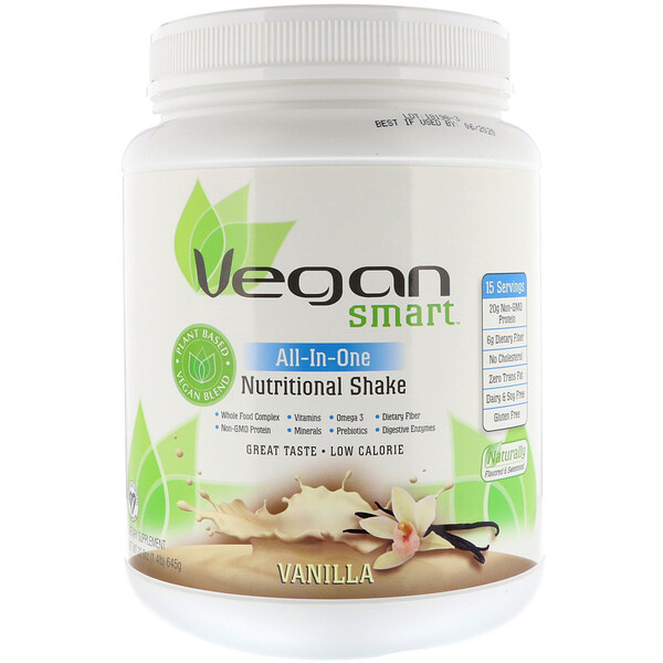 VeganSmart, All-In-One Nutritional Shake, Vanilla, 1.42 lbs (645 g)