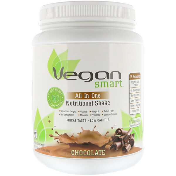 VeganSmart, All-In-One Nutritional Shake, Chocolate, 24.3 oz (690 g)