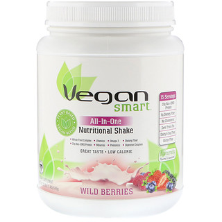 VeganSmart, All-In-One Nutritional Shake, Wild Berries, 22.8 oz (645 g)