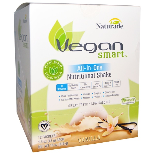 VeganSmart, VeganSmart, All-In-One Nutritional Shake, Vanilla, 12 Packets, 1.5 oz (43 g) Each (Discontinued Item)