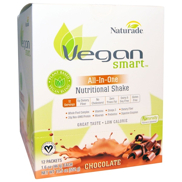 VeganSmart, VeganSmart, All-In-One Nutritional Shake, Chocolate, 12 Packets, 1.6 oz (46 g) Each (Discontinued Item)