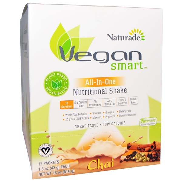 VeganSmart, VeganSmart, All-In-One Nutritional Shake, Chai, 12 Packets, 1.5 oz (43 g) Each (Discontinued Item)