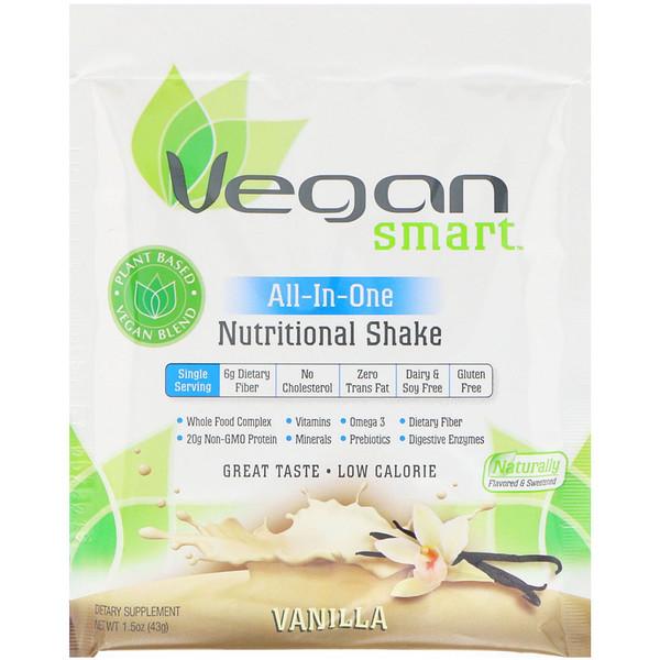 VeganSmart, Batido nutricional todo en uno, vainilla, 1.5 oz (43 g) (Discontinued Item)