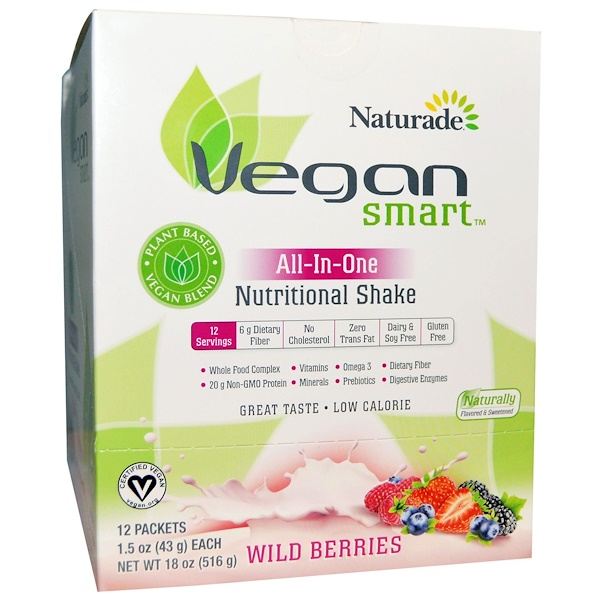 VeganSmart, VeganSmart, All-In-One Nutritional Shake, Wild Berries, 12 Packets, 1.5 oz (43 g) Each (Discontinued Item)