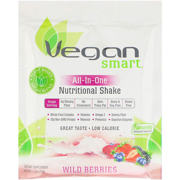 VeganSmart, All-In-One Nutritional Shake, Wild Berries, 1.5 oz (43 g) (Discontinued Item)
